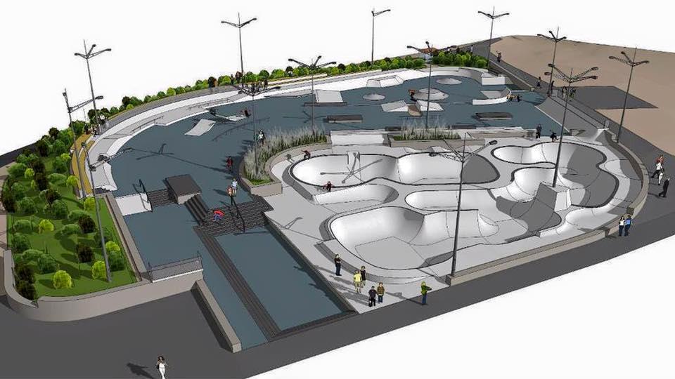 En skisse av hva som kan bli skateparken og NM arena i Stavanger 2016. Foto: Stavanger skateklubb